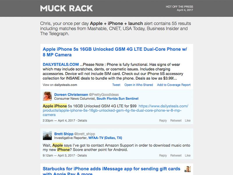 Muck Rack alert emails