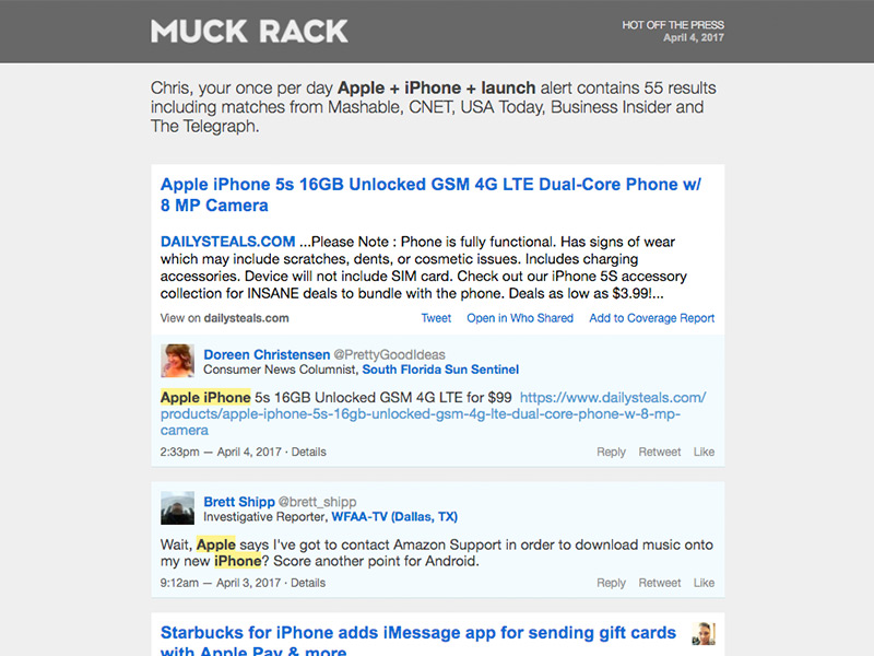 Muck Rack alert email